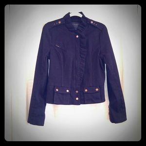 Sanctuary Denim Jacket Ruffle Accent Black Denim